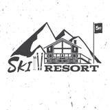 Ski resort concept with ski house. Royalty Free Stock Photo