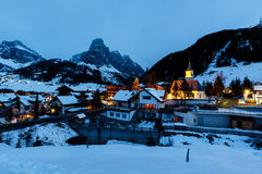 Ski Resort of Corvara at Night, Alta Badia Stock Photography