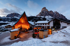 Ski Resort of Corvara at Night, Alta Badia Royalty Free Stock Photos