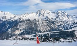 Ski Resort in Courchevel 1850, France. 6th February 2016 - Courchevel 1850, France. Spectacular mountain panorama in one of the best ski resorts in europe Stock Photos