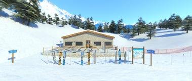 Ski resort. 3D CG rendering of the ski resort Stock Photo