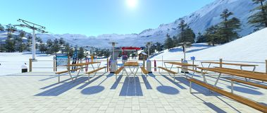 Ski resort. 3D CG rendering of the ski resort Royalty Free Stock Photography