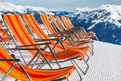Ski resort deckchairs Stock Photo
