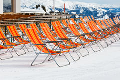 Ski resort deckchairs Royalty Free Stock Images