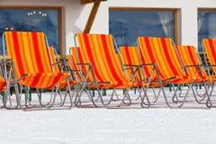Ski resort deckchairs Royalty Free Stock Image