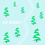 Ski resort with downhill skiing Royalty Free Stock Photo