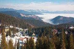 Ski resort Dragobrat, Ukraine. Beautiful winter mountain snowy landscape. Ski resort Dragobrat, Ukraine. Beautiful fairytale winter mountain snowy landscape Stock Photo