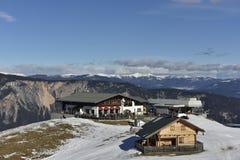 Ski Resort Dreilaendereck (= bringen drei Länder) in Verlegenheit, Österreich Stockfotografie