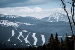 Ski resort in Eastern Europe. Of the Carpathian mountains. Panorama of the ski slopes Royalty Free Stock Image