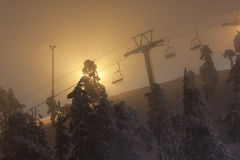 Ski resort elevators in mist Stock Image
