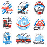 Ski resort emblems set. With snowboarding and sled labels isolated vector illustration Stock Photos