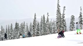 Ski resort at the end of the season after the snow storm in Colorado. stock video