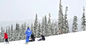 Ski resort at the end of the season after the snow storm in Colorado. stock footage