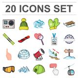 Ski resort and equipment cartoon icons in set collection for design. Entertainment and recreation vector symbol stock. Illustration royalty free illustration