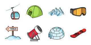 Ski resort and equipment icons in set collection for design.. Entertainment and recreation vector symbol stock  illustration Royalty Free Stock Photo