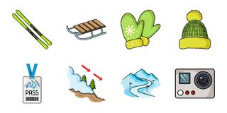 Ski resort and equipment icons in set collection for design. Entertainment and recreation vector symbol stock web. Ski resort and equipment icons in set Royalty Free Stock Photos
