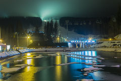 Ski resort in the evening Royalty Free Stock Images
