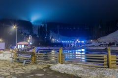 Ski resort in the evening Royalty Free Stock Image