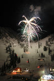 Ski Resort Fireworks Stock Photography