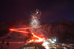 Ski Resort Fireworks royalty free stock photo