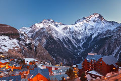 Ski resort in French Alps. Ski resort Les deux alps in French Alps at night Royalty Free Stock Photos