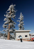 Ski resort with fresh snow. Ski resort patrol cabin with fresh snow Royalty Free Stock Photography