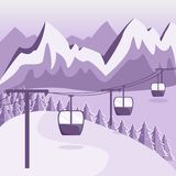 A ski resort with a funicular with cabins. Flat style. Mountain vector illustration
