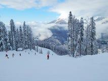 Ski resort Gornaya karusel, Krasnaya Polyana, Sochi, Russia. 1500 metres. January, 2015. Royalty Free Stock Photo