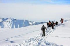 Ski resort Gudauri. People walk in Ski resort Gudauri - Georgia Royalty Free Stock Image