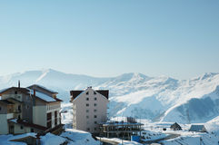 Ski resort high in the winter mountains Stock Images