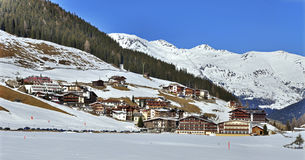 Ski Resort Hintertux. Panorama of Hintertux ski resort in Zillertal Alps in Austria with the far view of ski lifts and pistes stock photography