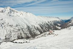 Ski resort  Hohrgurgl. Austria. On the slopes of the ski resort of Hohrgurgl. Austria Royalty Free Stock Image