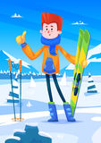 Ski resort holidays skier. Snow background. Flat Stock Image