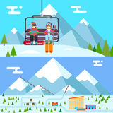 Ski resort holidays skier and snowboarder go up Royalty Free Stock Photo