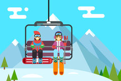 Ski resort holidays skier and snowboarder go up Royalty Free Stock Photography