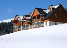 Ski Resort Hotel. Snow-covered ski resort hotel in the Czech mountains Stock Photography