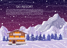 Ski resort house or hotel on snowy landscape. Royalty Free Stock Photography