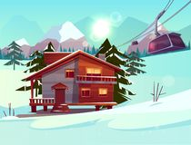 Ski resort with house and lifting funicular cabin. Ski resort with house or chalet, funicular cabin lifting on cableway, winter mountain landscape with spruce stock illustration