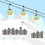 Ski resort icon. Design for tourist catalog, maps of the ski slopes, placard, brochure, flyer, booklet etc. Vector illustration Stock Image