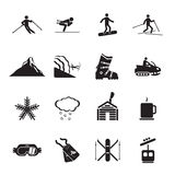 Ski resort icons set Royalty Free Stock Photos