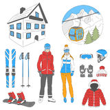 Ski resort icons set vector Stock Images