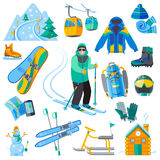 Ski resort icons. Set with winter sport equipment isolated vector illustration Stock Photos
