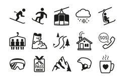 Ski resort icons Royalty Free Stock Photos