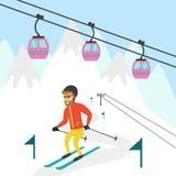Ski resort illustration. Design for wed, tourist catalog, placard, brochure, flyer, booklet etc. Vector illustration Stock Photography