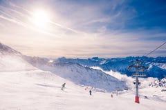 Free Ski Resort In Winter Alps. Val Thorens, 3 Valleys, France Stock Image - 169421051