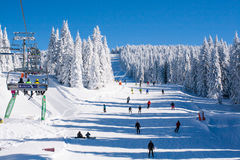 Ski resort Kopaonik, Serbia, lift, slope, people skiing Stock Photography