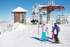 Ski resort Kopaonik, Serbia, ski lift, slope, people skiing Stock Images
