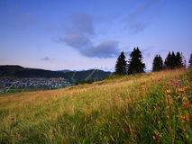 Ski resort landscape at dusk Royalty Free Stock Images