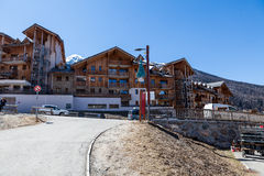 Ski resort Les Orres, Hautes-Alpes, France. LES ORRES, HAUTES-ALPES, FRANCE - APRIL 6: Outdoor views of the ski resort Les Orres in departement Hautes-Alpes stock photo