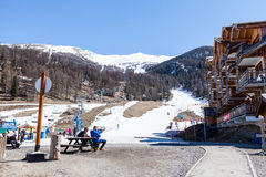 Ski resort Les Orres, Hautes-Alpes, France. LES ORRES, HAUTES-ALPES, FRANCE - APRIL 6: Outdoor views of the ski resort Les Orres in departement Hautes-Alpes stock photos